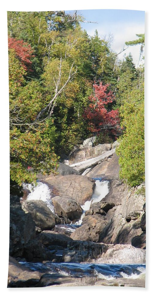 Waterfall Beach Towel featuring the photograph Running Through The Woods by Kelly Mezzapelle