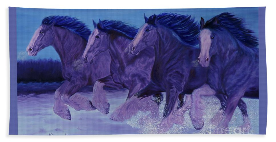Running Horses Beach Towel featuring the painting Running Till Dawn by Guy C Lockwood