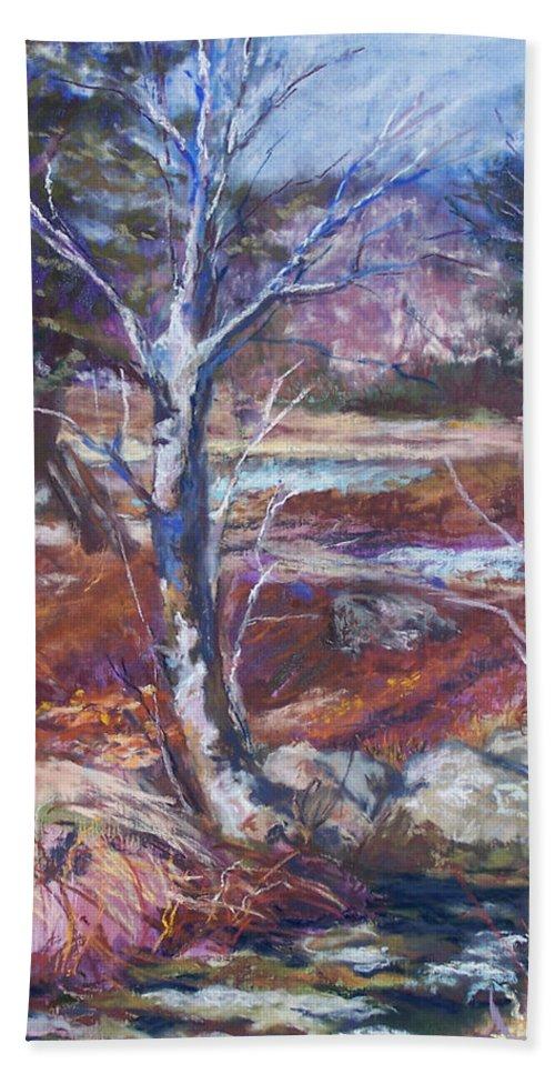 En Plein Air Beach Sheet featuring the pastel Running Upstream by Alicia Drakiotes