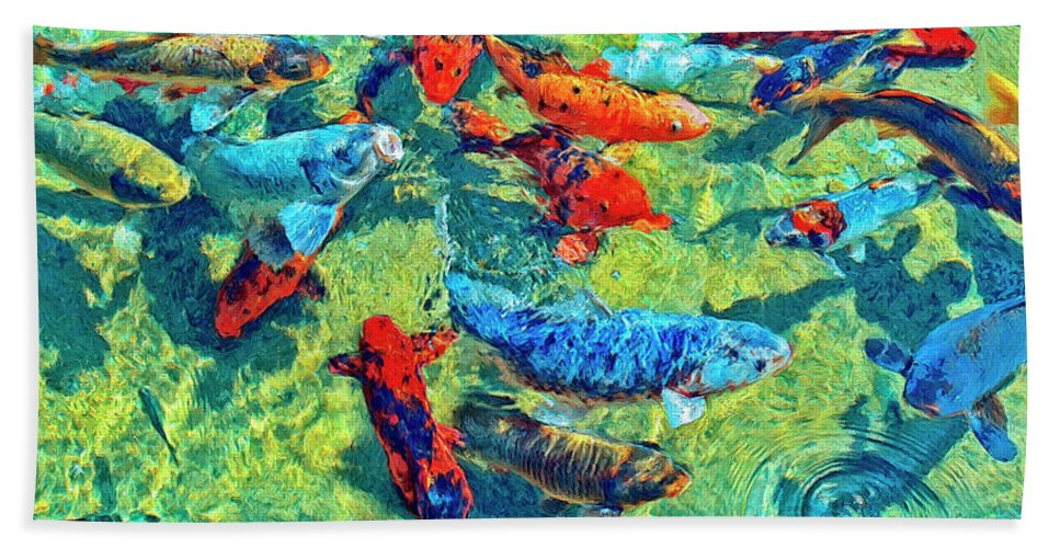 Koi Beach Towel featuring the painting Rush Hour by Dominic Piperata