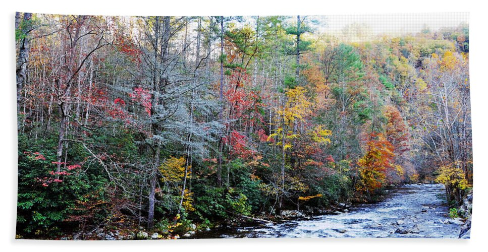 Smokey Mountain Beach Towel featuring the photograph Rushing by Brittany Horton
