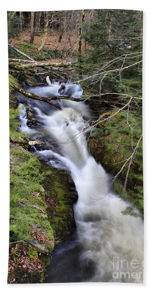 Rural Beach Towel featuring the photograph Rushing Montgomery Brook by Deborah Benoit