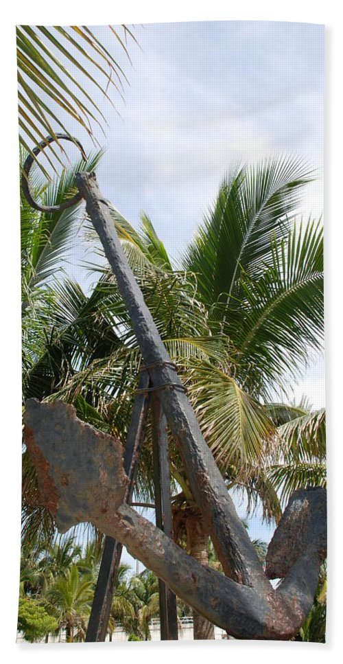 Nautical Beach Towel featuring the photograph Rusted Anchor by Rob Hans