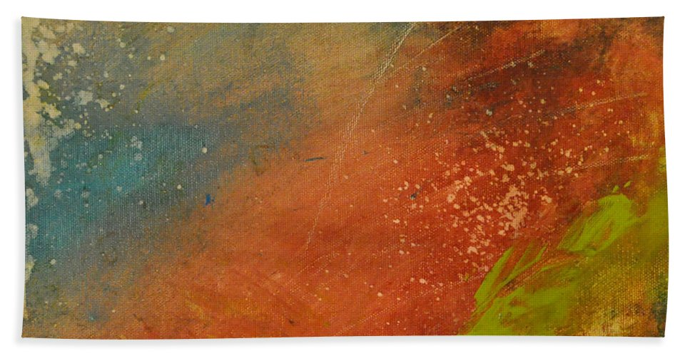 Abstract Beach Towel featuring the painting Rusted Nova by Tim Nyberg