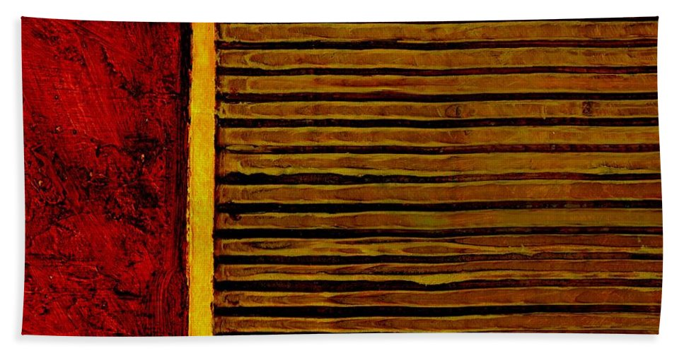Rustic Beach Sheet featuring the painting Rustic Abstract One by Michelle Calkins