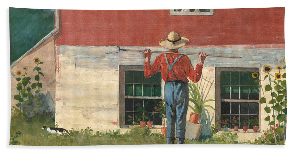 19th Century American Painters Beach Towel featuring the painting Rustic Courtship by Winslow Homer