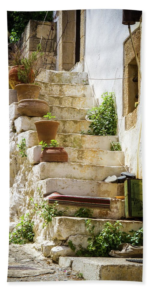 Architecture Beach Towel featuring the photograph Rustic Steps In Crete by Elaine Hill