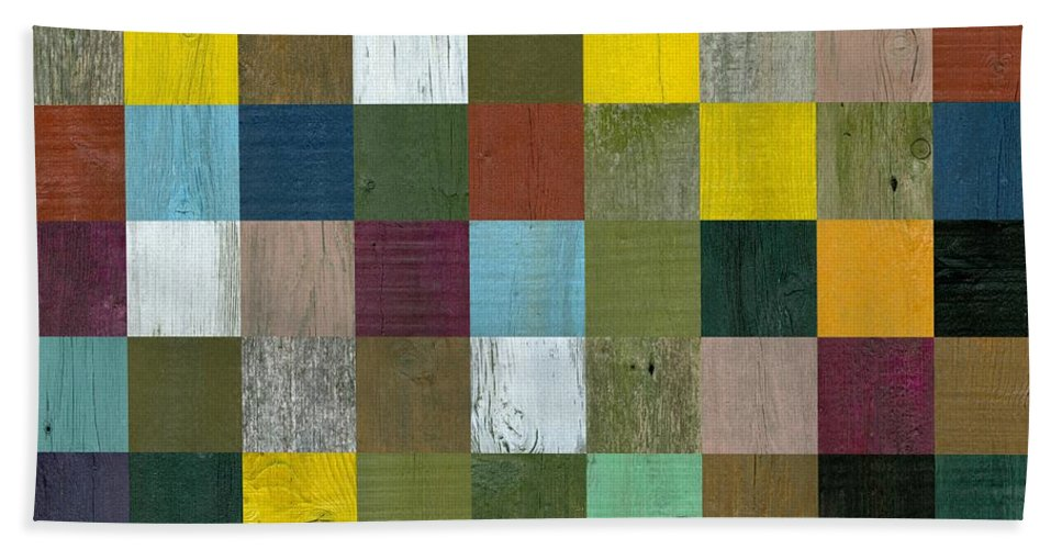 Textured Beach Towel featuring the digital art Rustic Wooden Abstract by Michelle Calkins