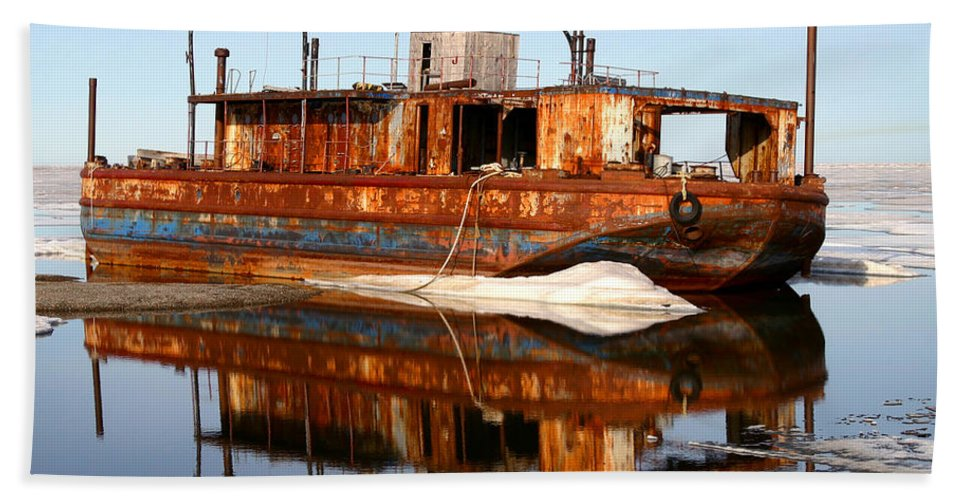 Boat Beach Towel featuring the photograph Rusty Barge by Anthony Jones