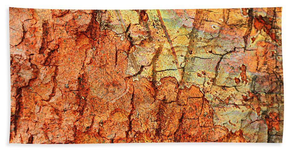 Abstract Beach Towel featuring the photograph Rusty Bark Abstract by Carol Groenen