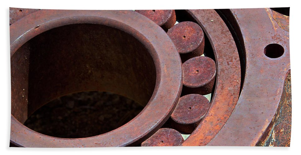 Machine Beach Towel featuring the photograph Rusty Circles by Phyllis Denton