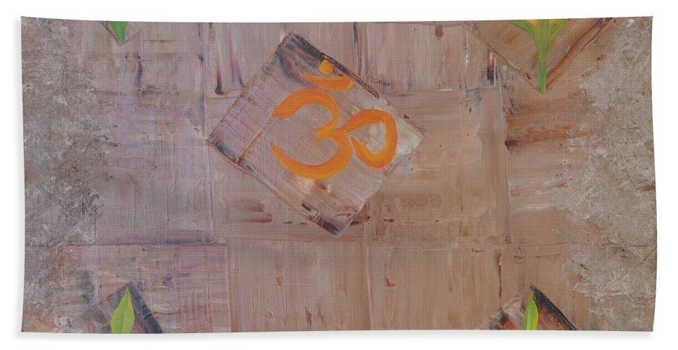 Symbolism Beach Towel featuring the painting Sacred Aum by Georgeta Blanaru