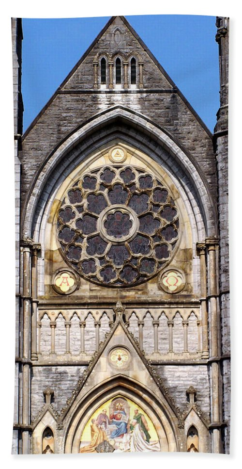 Ireland Beach Sheet featuring the photograph Sacred Heart Church Detail Roscommon Ireland by Teresa Mucha