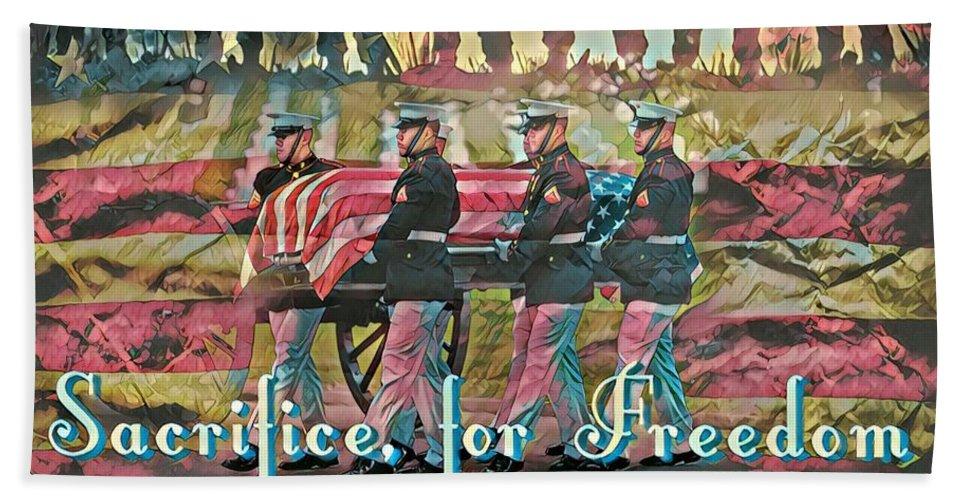 Military Beach Towel featuring the digital art Sacrifice For Freedom by Carlos Garcia