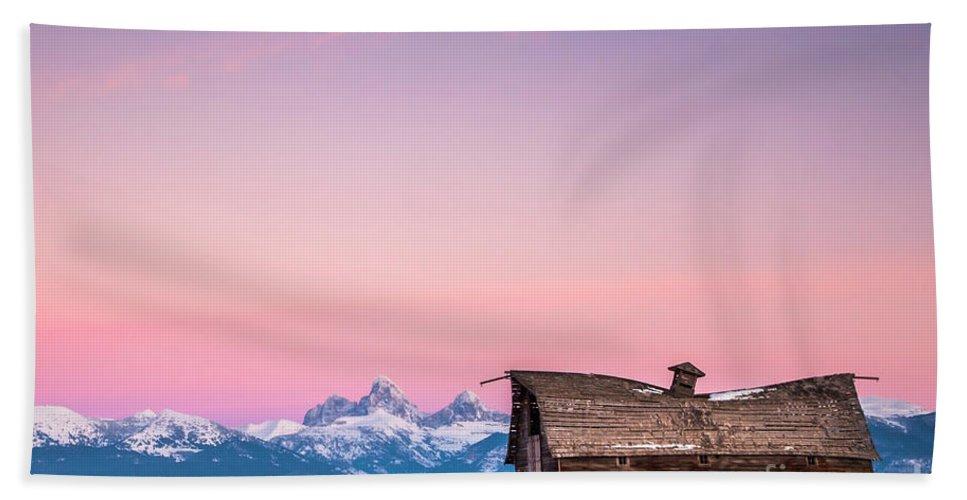 Saggy Beach Towel featuring the photograph Saggy, Teton Valley, Barn by Daryl L Hunter