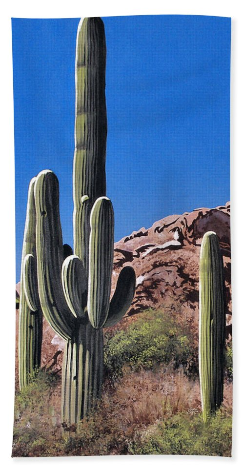Landscape Beach Towel featuring the painting Saguaro National Monument by Joe Roselle