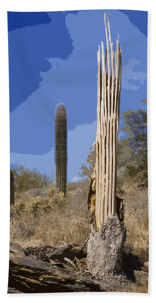 Saquaro Beach Towel featuring the photograph Saguaro Skeleton by Kelley King