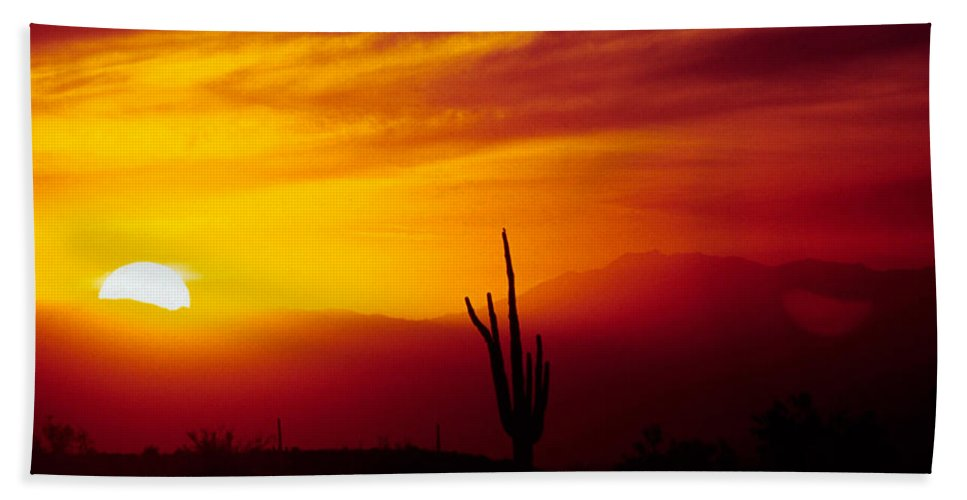 Arizona Beach Sheet featuring the photograph Saguaro Sunset by Randy Oberg