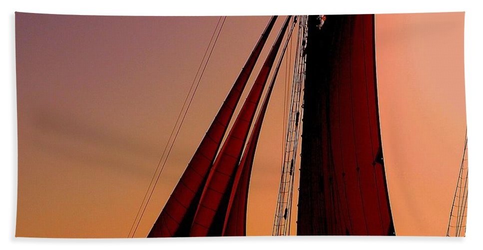 Sailing Beach Towel featuring the photograph Sail At Sunset by Susanne Van Hulst