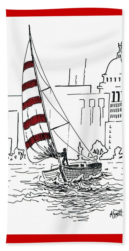Sail Boat Beach Towel featuring the drawing Sail Away by Marilyn Smith
