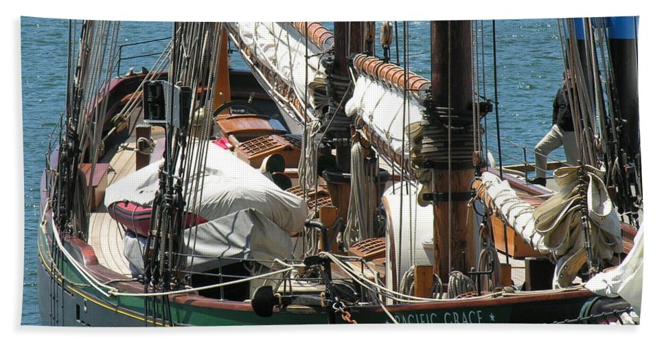 Boat Beach Towel featuring the photograph Sail Boat by Diane Greco-Lesser