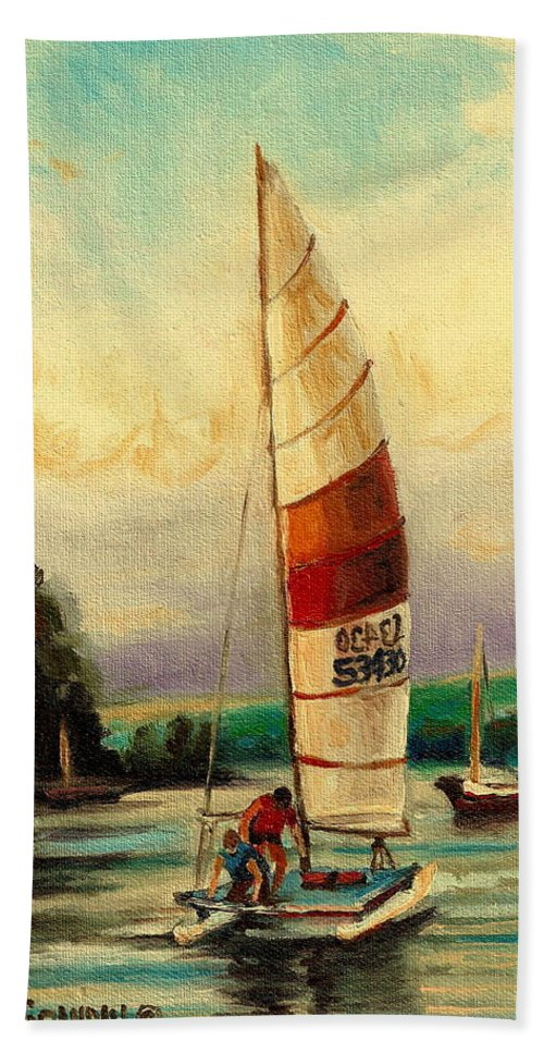Seascapes Beach Towel featuring the painting Sail Boats At Sea by Carole Spandau