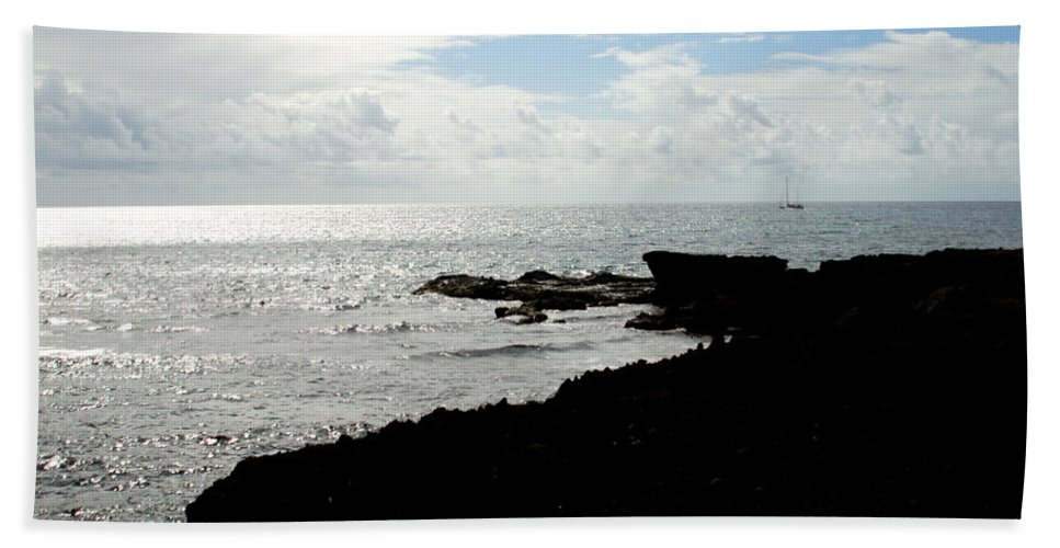 Sailboat Beach Towel featuring the photograph Sailboat At Point by Jean Macaluso