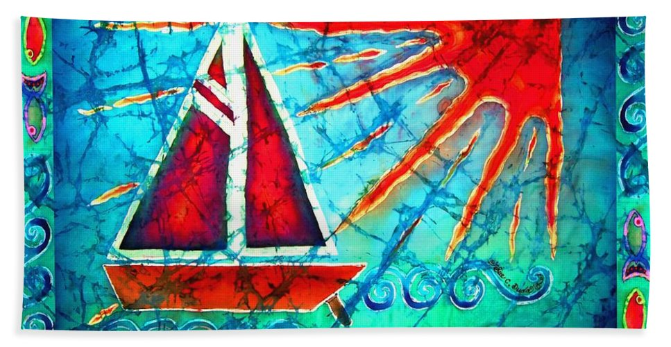 Sailboat Beach Towel featuring the painting Sailboat In The Sun by Sue Duda