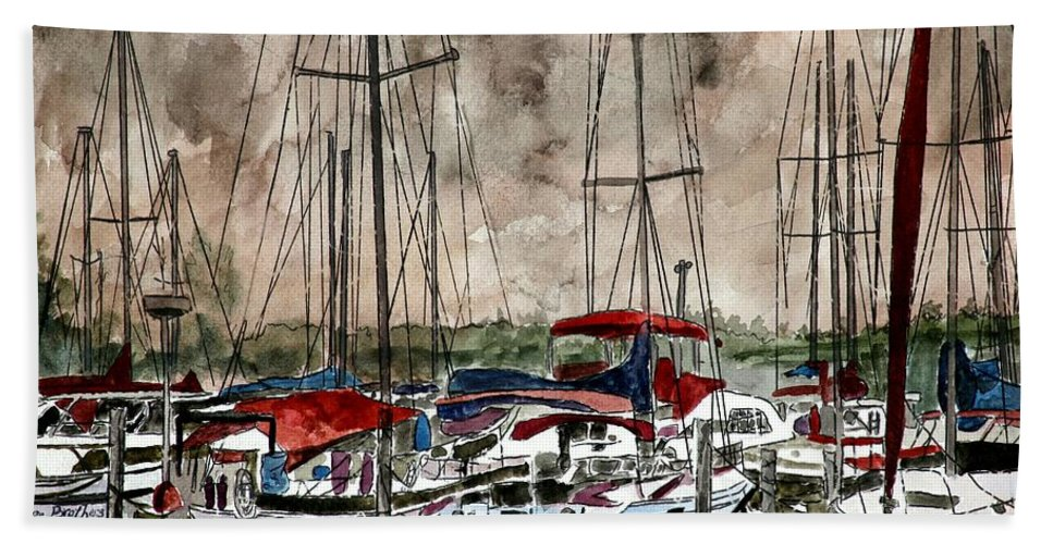 Watercolor Beach Towel featuring the painting Sailboats At Night by Derek Mccrea