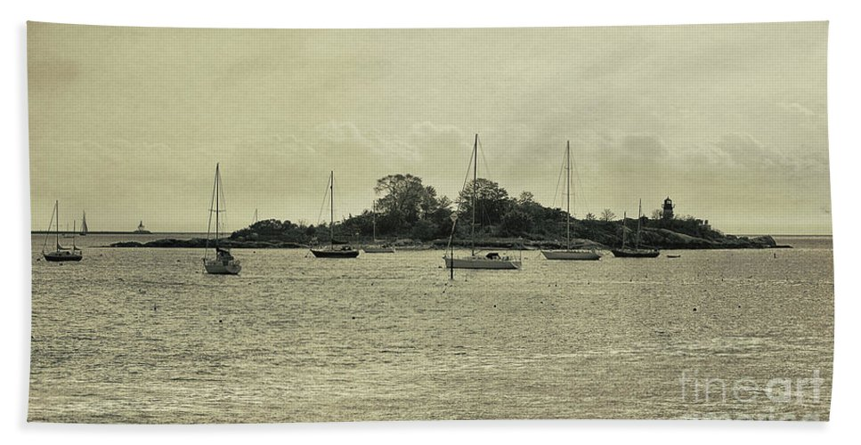 Gloucester Beach Towel featuring the photograph Sailboats In Gloucester Harbor by Tom Gari Gallery-Three-Photography