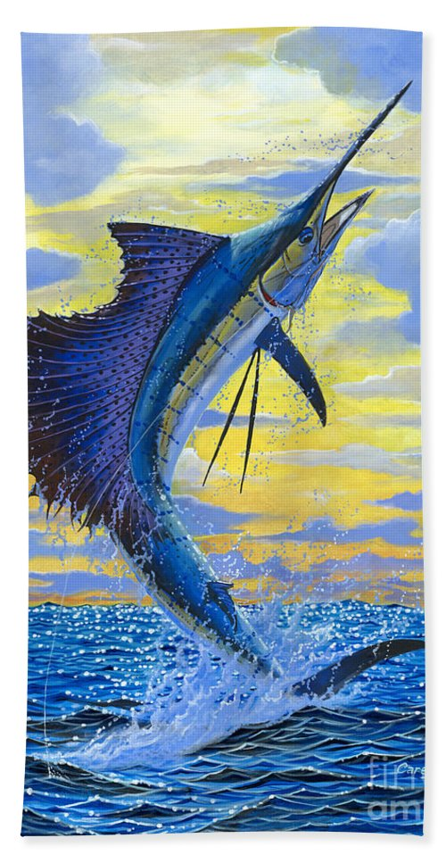 Sailfish Beach Towel featuring the painting Sailfish Point Off00158 by Carey Chen