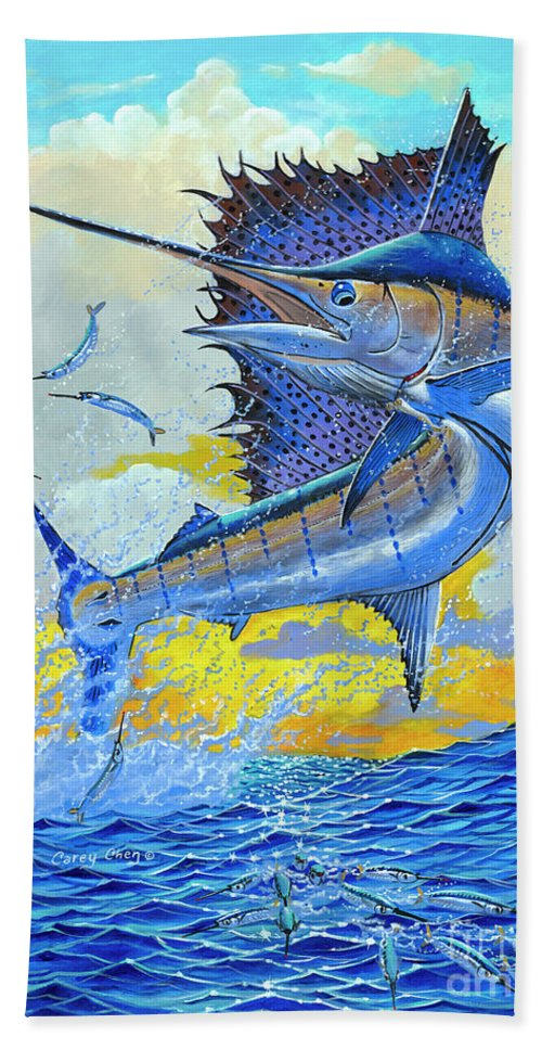 Sailfish Beach Towel featuring the painting Sailfish Sunset OFF00160 by Carey Chen