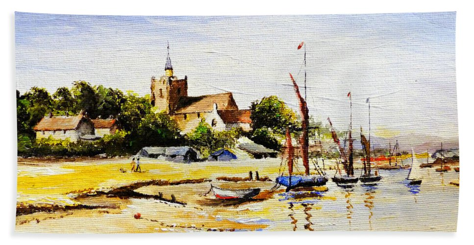 Maldon Beach Towel featuring the painting Sailing At Maldon by Andrew Read