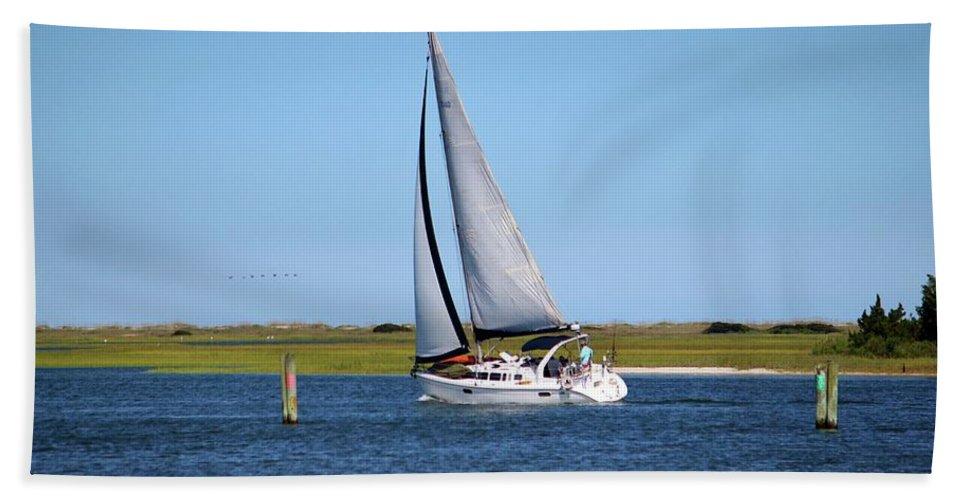 Boat Beach Towel featuring the photograph Sailing At Masonboro Island by Cynthia Guinn