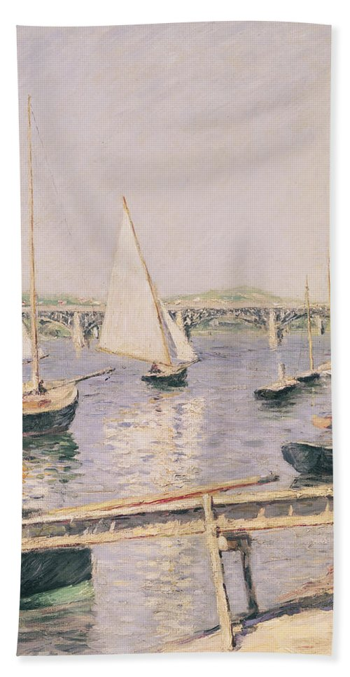 Yachting Beach Towel featuring the painting Sailing Boats At Argenteuil by Gustave Caillebotte