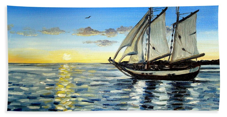 Seascape Beach Towel featuring the painting Sailing Day Sunset by Elizabeth Robinette Tyndall
