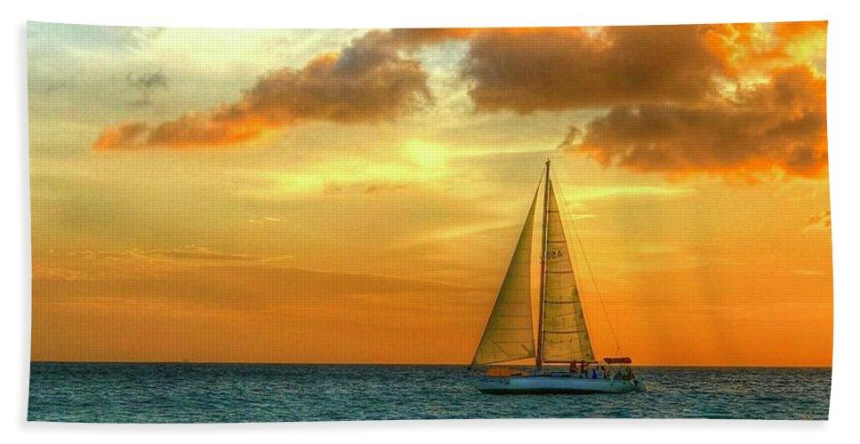 Sailboat Beach Towel featuring the photograph Sailing Free by Debbi Granruth