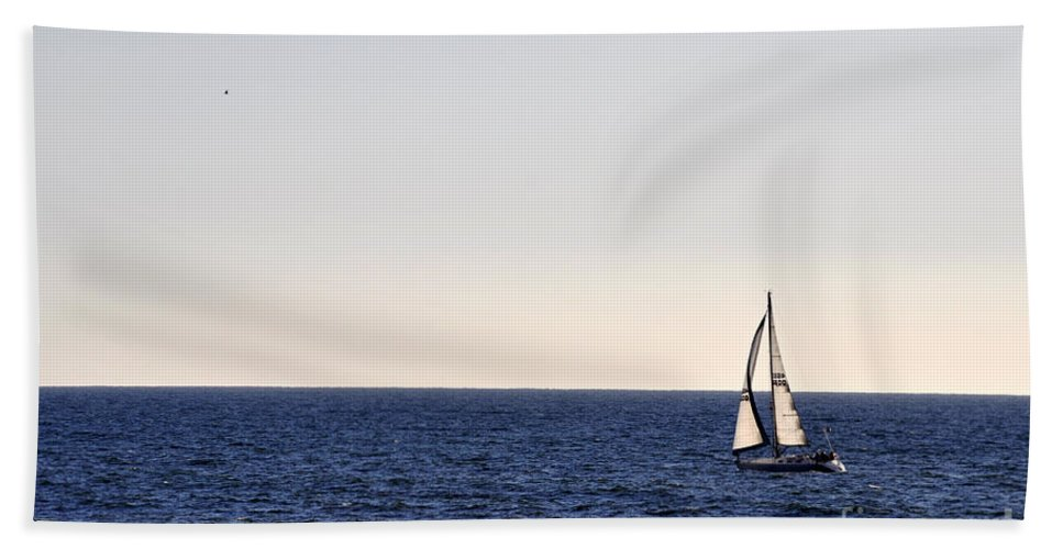 Clay Beach Towel featuring the photograph Sailing In Santa Monica II by Clayton Bruster