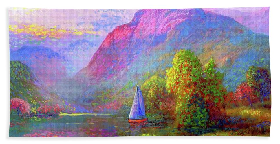 Spring Beach Towel featuring the painting Sailing by Jane Small