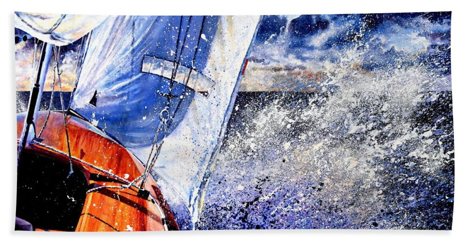 Sailboat Painting Beach Towel featuring the painting Sailing Souls by Hanne Lore Koehler