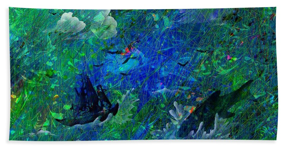 Seascape Beach Towel featuring the digital art Sailing The Seven Seas by Rachel Christine Nowicki