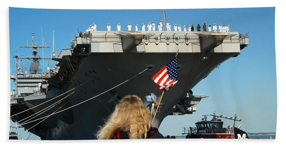 Color Image Beach Towel featuring the photograph Sailors Aboard Aircraft Carrier Uss by Stocktrek Images