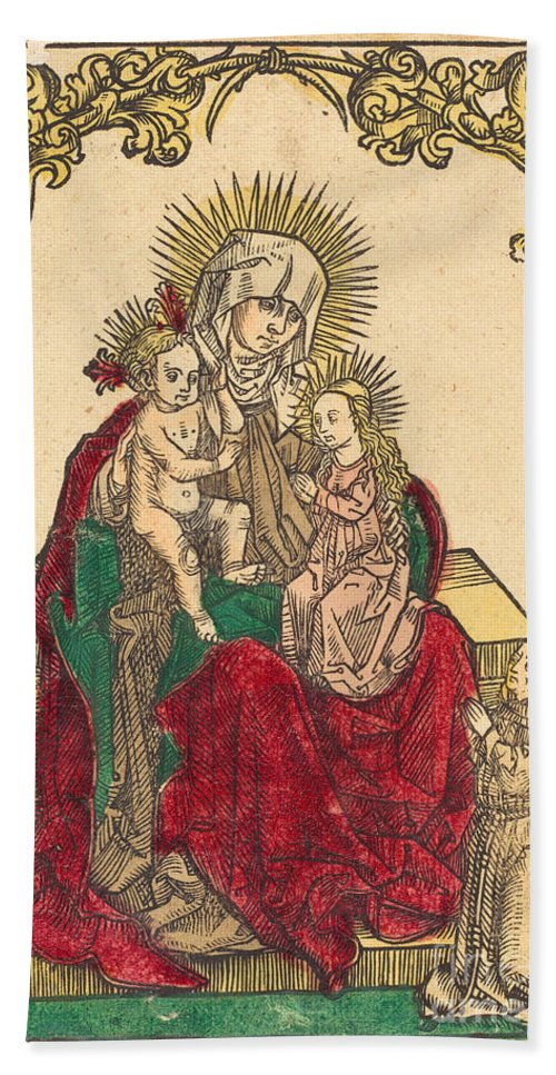 Beach Towel featuring the drawing Saint Anne, The Madonna And Child, And A Franciscan Monk by German 15th Century