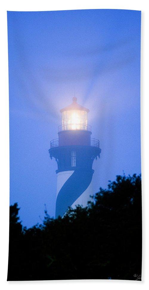 Fog Beach Towel featuring the photograph Saint Augustine Lighthouse In The Fog by John Harmon
