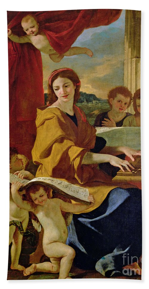 Cecilia Beach Towel featuring the painting Saint Cecilia by Nicolas Poussin