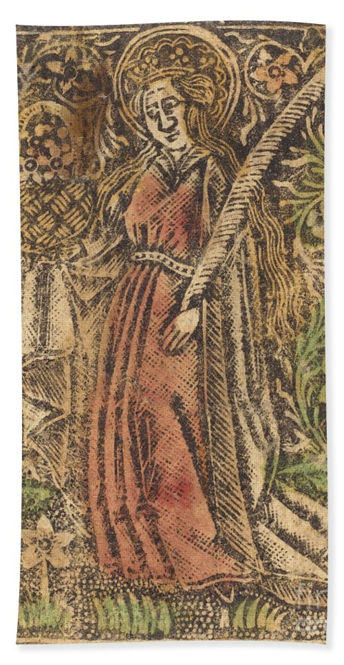 Beach Towel featuring the drawing Saint Dorothy by Workshop Of Master Of The Aachen Madonna