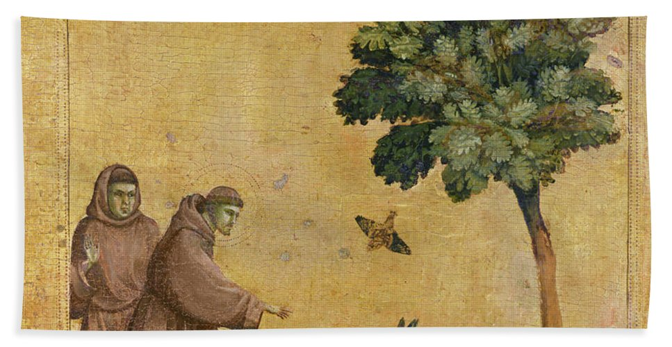Francis Beach Sheet featuring the painting Saint Francis Of Assisi Preaching To The Birds by Giotto di Bondone