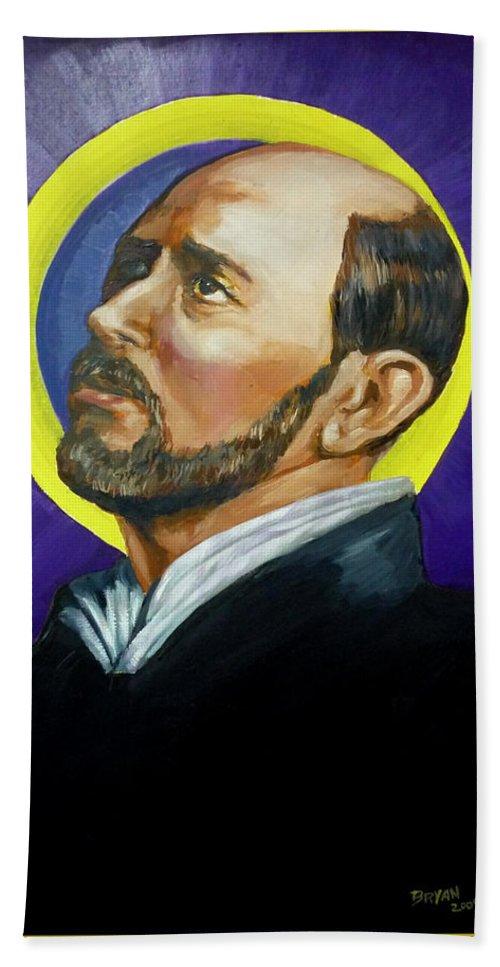 Saint Beach Sheet featuring the painting Saint Ignatius Loyola by Bryan Bustard