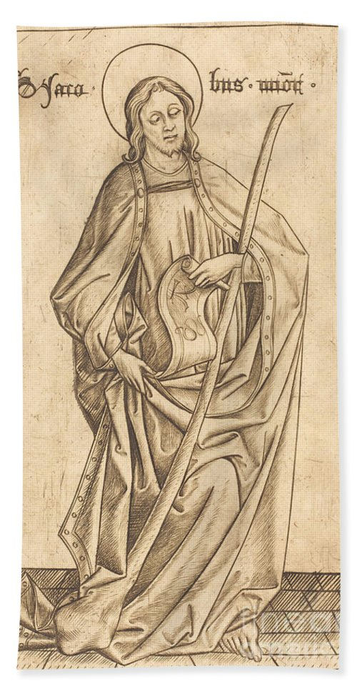 Beach Towel featuring the drawing Saint James The Less by Israhel Van Meckenem After Master E.s.
