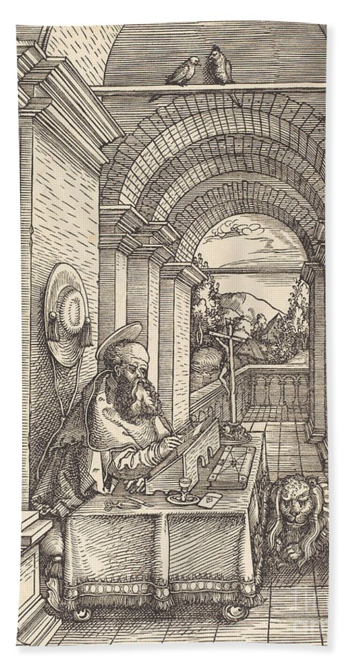 Beach Towel featuring the drawing Saint Jerome Writing by Hans Springinklee